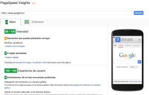 Google Page Speed test de velocidad