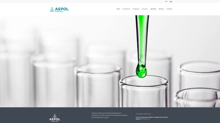 Pantalla principal de la web de Aspol Química