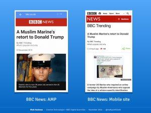 Capturas de pantalla sobre AMP en la BBC NEWS