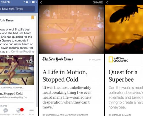 Capturas de pantalla sobre Facebook Instant Articles